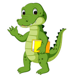 cute crocodile carrying book vector image