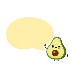 Cute happy funny avocado with speech bubble vector