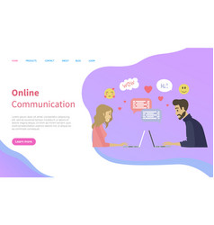 dating online man and woman using laptop vector image