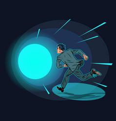 Death a man runs in a tunnel light vector