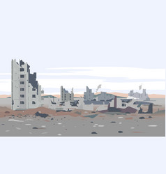 Destroyed residential neighborhood landscape vector