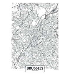 Detailed poster city map brussels vector