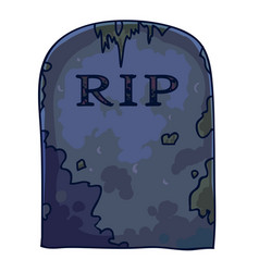 Dirty gravestone with rip sign and mold stains vector