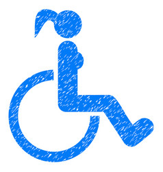 disabled woman grunge icon vector image