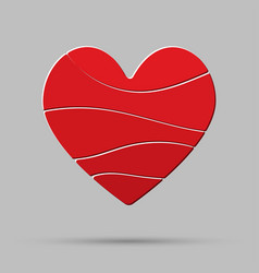 element red heart pieces puzzle symbol love vector image