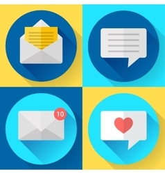 Flat color message sms icons set vector