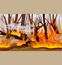 forest fire flame composition vector image