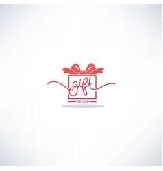 Gift shop doodle lettering logo with image of vector