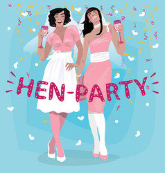 Girls in pink wedding dresses welcome to hen party vector
