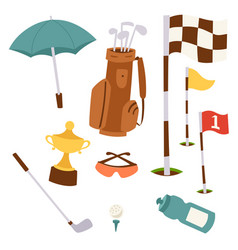 Golf icons hobby equipment cart player golfing vector