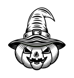 halloween pumpkin in witch hat black object vector image