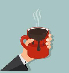 hand hold mug of hot chocolate vector image