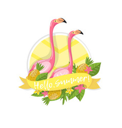 hello summer label design element with palm vector image