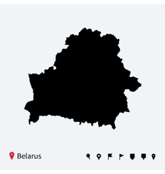 High detailed map of Belarus with navigation pins vector image