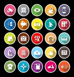 Hitechnology flat icons with long shadow vector image