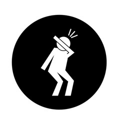 human figure coughing in elbow health pictograph vector image