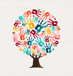 Human hand print tree concept for social help vector