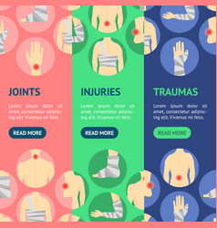 Human injuries set bandage and center pain banner vector
