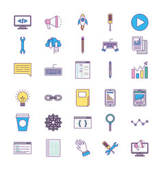 Icon set computer codes vector