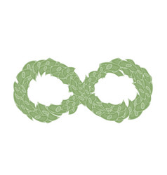 infinity symbol shape made from cash dollar vector image