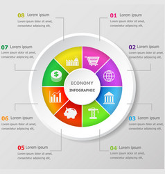 Infographic design template with economy icons vector