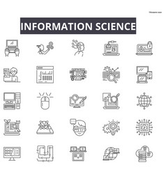 information science line icons for web and mobile vector image