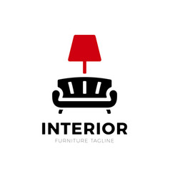 interior sofa and lamp furniture business sign vector image