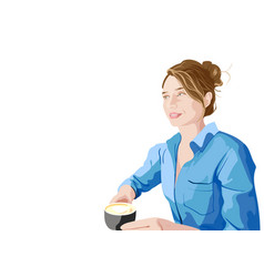 Joyful woman in blue shirt enjoying a cup of vector