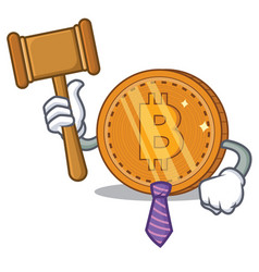 Judge bitcoin coin character cartoon vector
