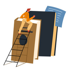 Ladder to knowledge and success with books vector