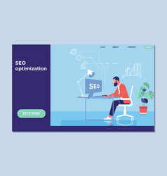 Landing page template of seo optimization for vector