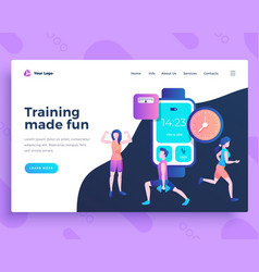 Landing page template training made fun concept vector