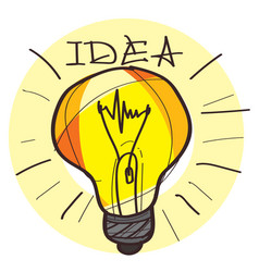 light bulb color on white background vector image