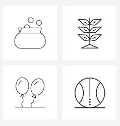 Line icon set 4 modern symbols business vector
