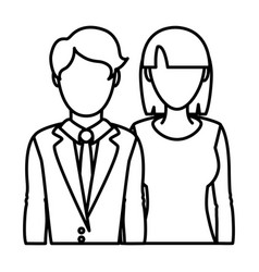line professional woman and man partner with vector image