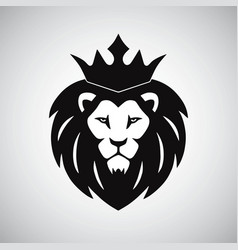 Lion king with crown logo vector