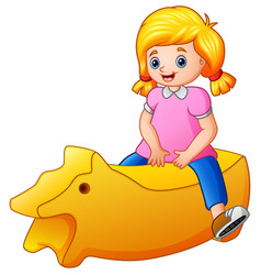 little girl riding a yellow toy isolated on white vector image