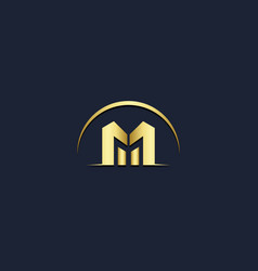 m initial company gold logo vector image