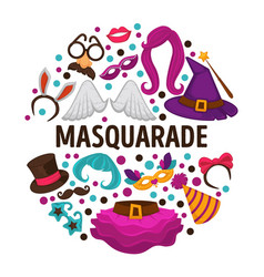 masquerade costumes carnival or halloween vector image