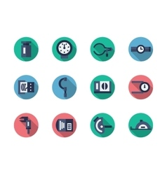 Measuring tools round flat color icons vector image