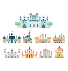 medieval castle set ancient castle citadel vector image