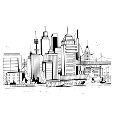 Megalopolis city street hand drawn vector