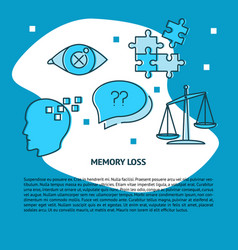 Memory loss concept banner template in line style vector