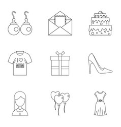 Mom day icon set outline style vector