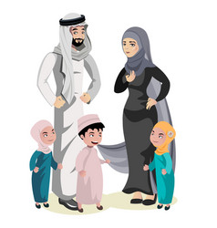 Muslim family cartoon character vector