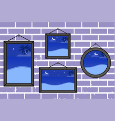 night summer beach frames on a wall vector image
