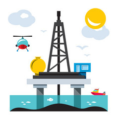 Offshore drilling platform flat style vector