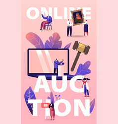 Online auction concept people buying assets in vector