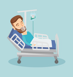 patient lying in hospital bed with oxygen mask vector image