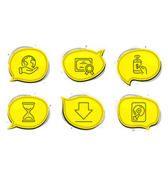 phone payment downloading and time hourglass vector image